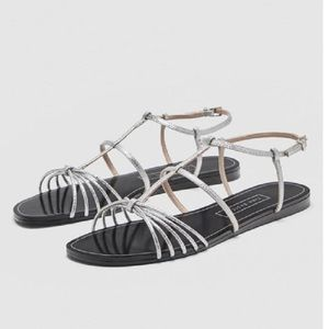 Zara metallic silver Strappy flat sandals